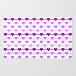 Hearts - Pink and Purple Rug