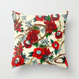 Flowery eyes on straps and chains Throw Pillow