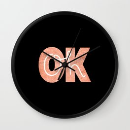 Oh Ok - Rose on Black Wall Clock