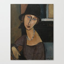 Modigliani - Jeanne Hebuterne With Hat And Necklace Canvas Print