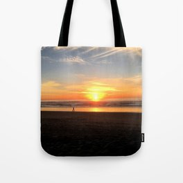 WALKING ON THE BEACH AT SUNSET Tote Bag