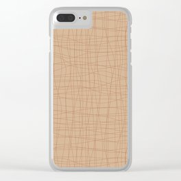 Cavern Clay SW 7701 Hand Drawn Abstract Mosaic Grid Pattern on Ligonier Tan SW 7717 Clear iPhone Case