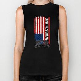 Amercian Wrestling Shirt, US Flag Wrestling Shirt, Patriotic Wrestling Tee Biker Tank