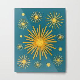 Abstract Hand-painted Golden Fireworks, Vintage Festive Pattern with Beautiful Acrylic Texture, Gold and Blue Teal Color Metal Print