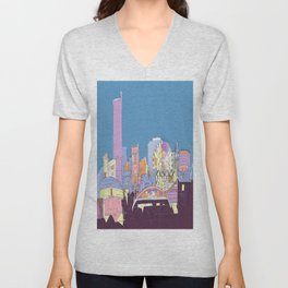 Manchester Skyline Opera House Hilton Hotel Railway City Town Hall England GB UK Unisex V-Neck