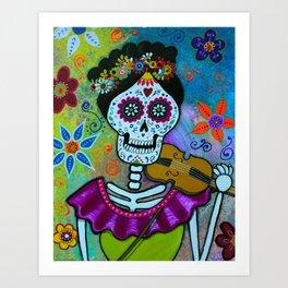 Mexican Artist Violin Player Dia de los Muertos Art Print