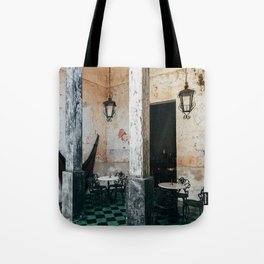 Coffee and frescoes in ex-hacienda in Mexico Tote Bag