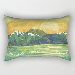 Mountains and Sunset over the lake Rectangular Pillow
