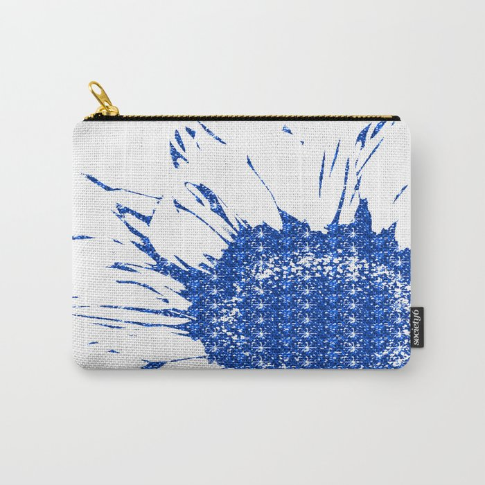 Sparkley Blue Flower Carry-All Pouch