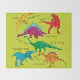 Dinosaur Print - Colors Throw Blanket