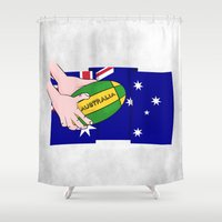 rugby Shower Curtains featuring Australia Rugby Ball by mailboxdisco