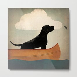 Black Lab Labrador Retriever Dog Canoe Ride Metal Print