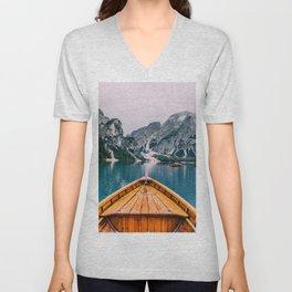 Canoe Mountains (Color) Unisex V-Neck