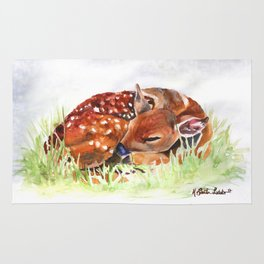 SLEEPY FAWN WATERCOLOR WOODLAND ANIMAL NURSERY COLLECTION Rug