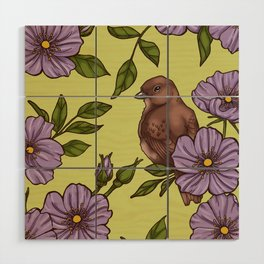 Purple Wild Rose Wood Wall Art