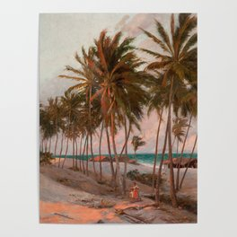 Vintage Palm Tree and Beach Art Poster