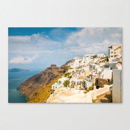 The beautiful white village of Fira, Santorini, Greece. Toned Canvas Print