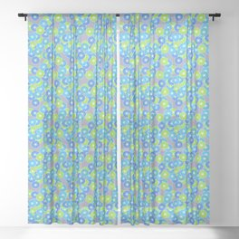 Art Deco Stylized Flower Pattern Blue and Lime Green Sheer Curtain
