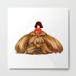 The Big Dog and the Little Girl. Metal Print
