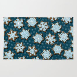 Frosted Gingerbread on Winter Night Sky Rug