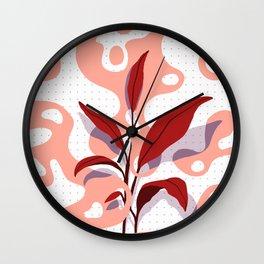 Flat Plant and Blobs Wall Clock