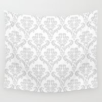 damask Wall Tapestries featuring DAMASK GREY  by PATTERNS & COLOR