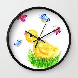 Chiсken and butterflies Wall Clock