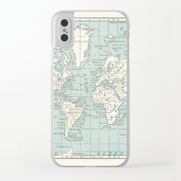 World Map in Blue and Cream Clear iPhone Case