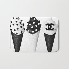 Ice Cream Black Bath Mat