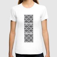 damask T-shirts featuring Black Damask  by Elena Indolfi