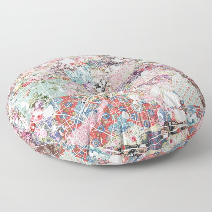 Orlando map flowers Floor Pillow
