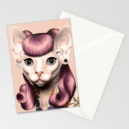 Ramona The Cat - Background Color: Nude Stationery Cards