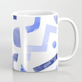 Memphis watercolor blue abstract pattern Coffee Mug