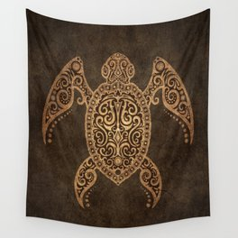 Intricate Vintage and Cracked Sea Turtle Wall Tapestry