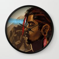 medicine Wall Clocks featuring Medicine Man by gravityjump