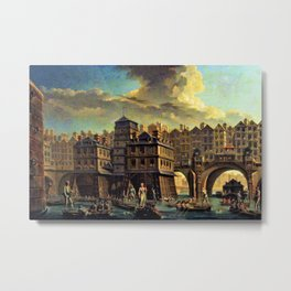 18th Century Paris, France along the River Seine by Jean Baptiste Nicolas Raguenet Metal Print