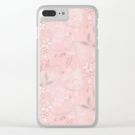 Pink floral pattern 2 Clear iPhone Case