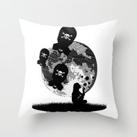 bombs away Throw Pillows featuring Bubbles and Bombs Away (Etching Sketch) by kamonkey