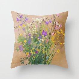 Bouquet of Field Flowers Throw Pillow