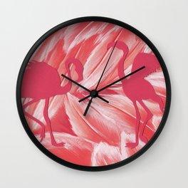 Pink dance of Flamingoes Wall Clock