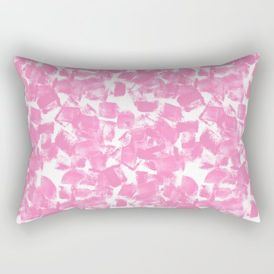 Pink Painter brushstrokes abstract minimal modern dorm college trendy boho painting monochromatic  Rectangular Pillow
