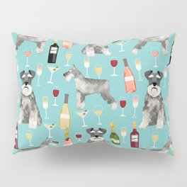 Schnauzer wine champagne cocktails rose dog breed pattern Pillow Sham