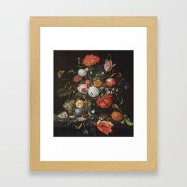 Jan Davidsz de Heem - Flower Still Life with a Bowl of Fruit and Oysters (c.1665) Framed Art Print