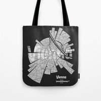 vienna Tote Bags featuring Vienna Map by Shirt Urbanization