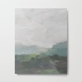 Dark Green Seafoam Teal Valley Horizon Gray Cloudy Skies Abstract Nature Ocean Painting Art Print Wall Decor  Metal Print