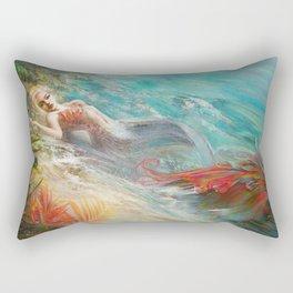 Mermaid sunbathing on the beach fantasy Rectangular Pillow