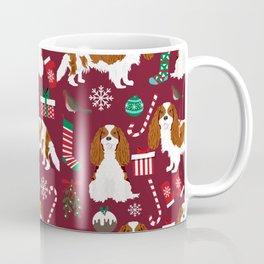 Cavalier King Charles Spaniel blenheim coat christmas pattern dog breed by pet friendly Coffee Mug