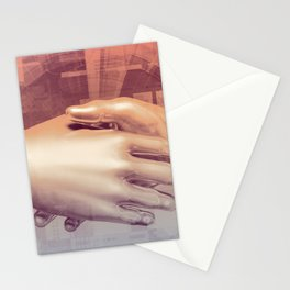 Digital Partnership with Handshake Between Man and Machine Stationery Cards