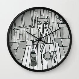 Fox in a diner Wall Clock