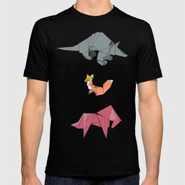 origami-Animal pattern T-shirt